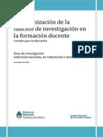 La Organizacion de La Funcion de Investigacion en La Formacion Docente