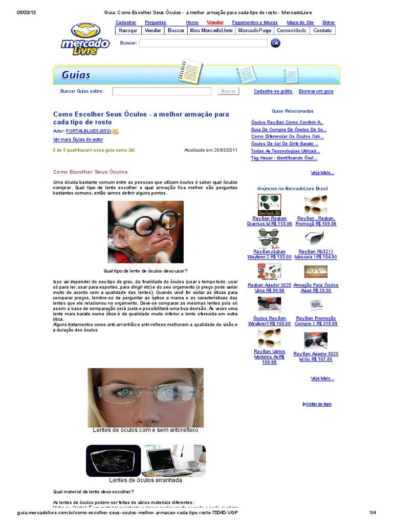 Guia  Como Escolher Seus Óculos - A Melhor Armação Para Cada Tipo de Rosto  - MercadoLivre 96ff77a2c4