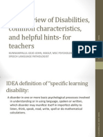 Learning Disability Guidelines for Teachers