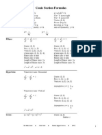 Formula of conic sections