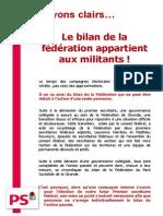 Clarification sur le bilan de la Fédération Gironde