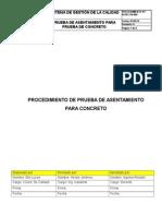 Ir-pr-civ-08, Rev 0. Prueba de Asentamiento Para Concreto