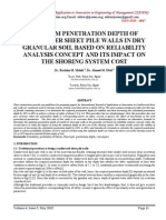OPTIMUM PENETRATION DEPTH OF CANTILEVER SHEET PILE WALLS IN DRY GRANULAR SOIL BASED ON RELIABILITY ANALYSIS CONCEPT AND ITS IMPACT ON THE SHORING SYSTEM COST
