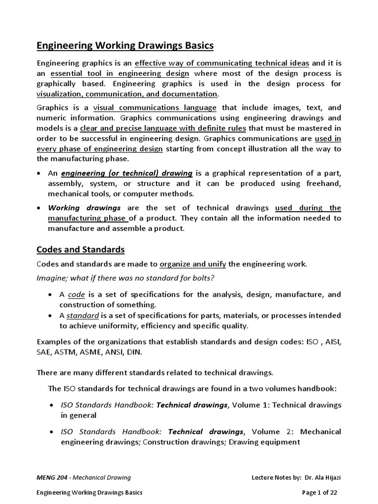 Engineeringworkingdrawingbasics Technical Drawing Standardization