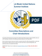 Committee Descriptions and Chair Introductions - 2015 UCLA Model UN Summer Institute