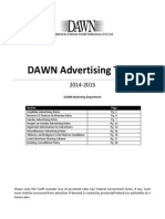 Dawn 2014-2015 Tariff - Pkr