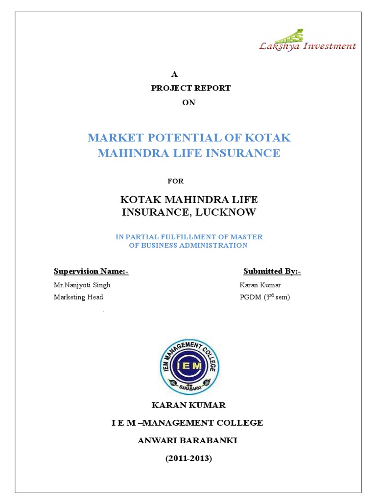 Market Potential of Kotak Mahindra Life Insurance by Vivek ...