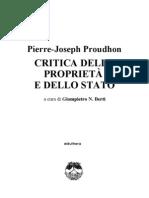 Proudhon Critica Della Proprieta e Dello Stato