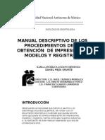 Manual Descriptivo de Los Procedimientos de La Obtención de Impresiones, Modelos y Registros