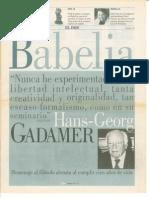 Gadamer (Babelia. El País, 25-03-2000)