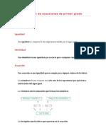 Resumen Ecuaciones Primer Grado