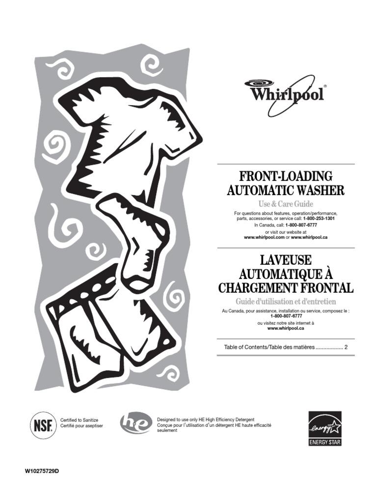 Whirlpool TumbleFreshWashing Machine Use and Care Guide