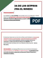Denuncia de Los Cetpros Contra El Minedu