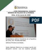 2008 03 10 Intervención Presidencial Durante Brindis en Palacio de La Moneda
