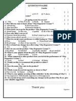 Questionnaire Olay
