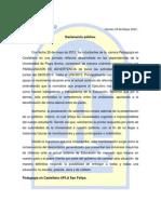 Declaración Pública Paro Pedagogía en Castellano UPLA San Felipe.