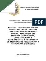 META 48 ESTUDIO DE EVALUACION DE RIESGO DE DESASTRE EN EL SECTOR CRITICO MALAMBO - CARAZ.doc