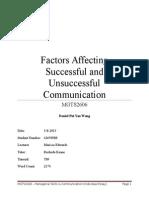 Daniel_Wong_MGTS2606_Factors Affecting Successful and Unsuccessful Communication