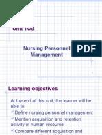 Unit 2-Nursing Personnel Management