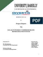 Solar Powered Compressorless Refridgerator System