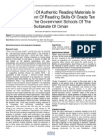 The Importance of Authentic Reading Materials in the Development of Reading Skills of Grade Ten Students in the Government Schools of the Sultanate of Oman