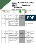 Fall 2009 Teaching Schedule
