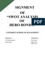 Hero Honda Swot