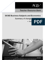 AQA GCSE Business Studies Changes to Specification B