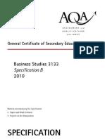 AQA GCSE Business Studies Specification B 2010