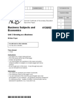 AQA GCSE Unit 2 Growing as a Business Specimen Examination Paper
