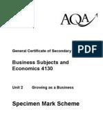 AQA GCSE Unit 2 Growing as a Business Specimen Mark Scheme