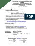 Convocatoria Examen de Selección Para Ingreso 2013