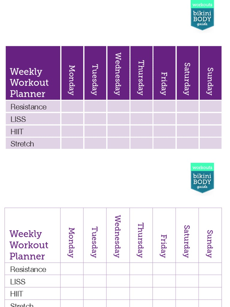 Kayla Itsines Weekly Exercise Timetable