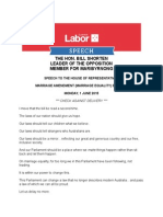 Shorten - Marriage Equality Bill
