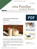 Chicha de Arroz, Bebida Típica Venezolana - Cocina Familiar