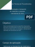 RTP-02 - Movimentação e Transporte de Material e Pessoas - Elevadores de Obra