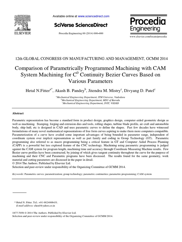 Comparison of Parametrically Programmed Machining with CAM