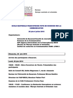 2015 Programme Ecole Mast d'Ete Franc en SIC