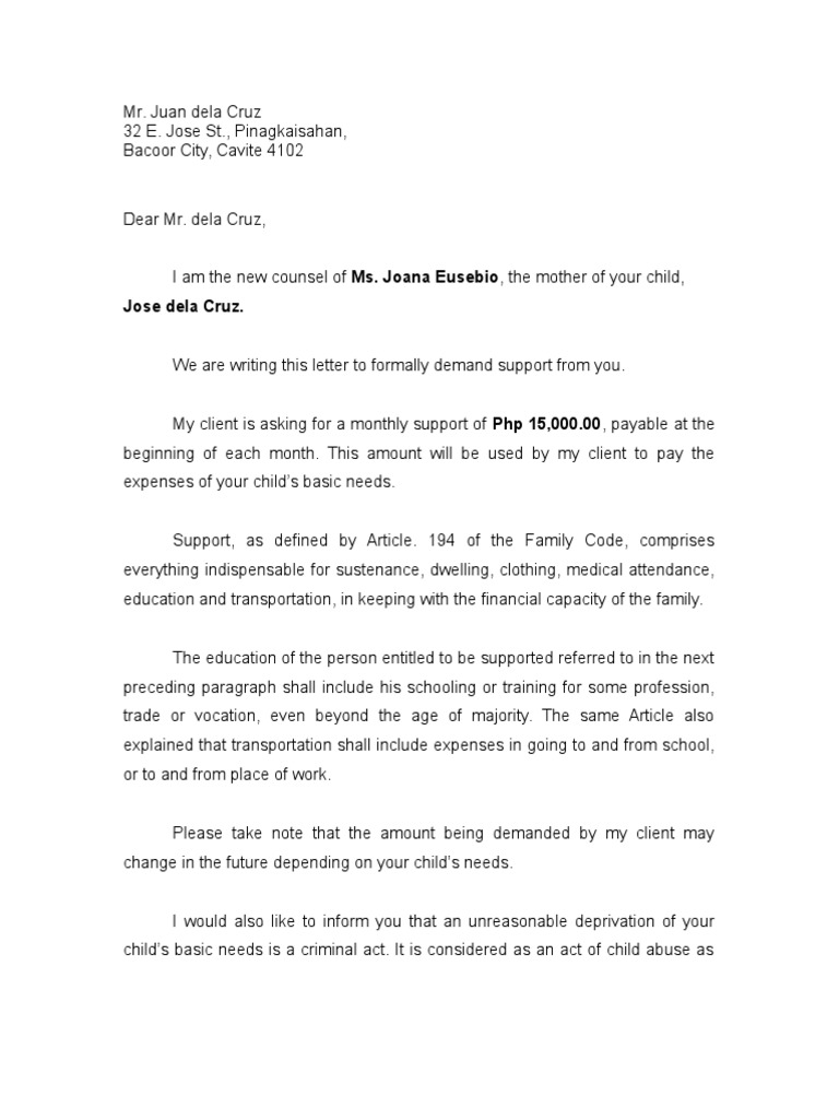 Demand Letter For Support - Formal demand for payment letter template