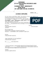 Model Traducere Diploma Licenta in Engleza
