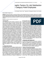 Role of Demographic Factors on Job Satisfaction Among the Star Category Hotel Employees