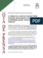 150601 NP- El Parque Del Lago de Coslada Podrá Visitarse Virtualmente