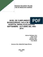 NIVEL DE CUMPLIMIENTO DE BIOSEGURIDAD