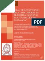 Plan de Intervención de Clima Laboral en El Hospital Nacional San Juan de Dios de Santa Ana 2013