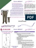 Instrucciones de Corte y Confección Del Patrón de Costura de Un Pantalon Fino Para Caballero Modelo HM2001P