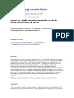 Noções de Coesão Textual Na Produção Escrita de Formandos Do Curso de Letras