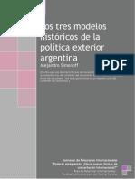 Los tres modelos históricos de la política exterior argentina