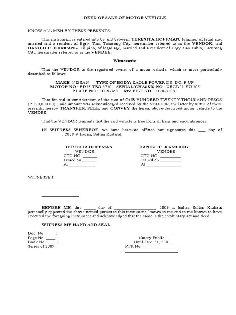 deed of sale motor vehicle format filesishare sale deed for