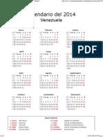 Calendario de Venezuela Del 2014 _ ¿Cuándo en El Mundo