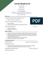 resume- hannah stephenson